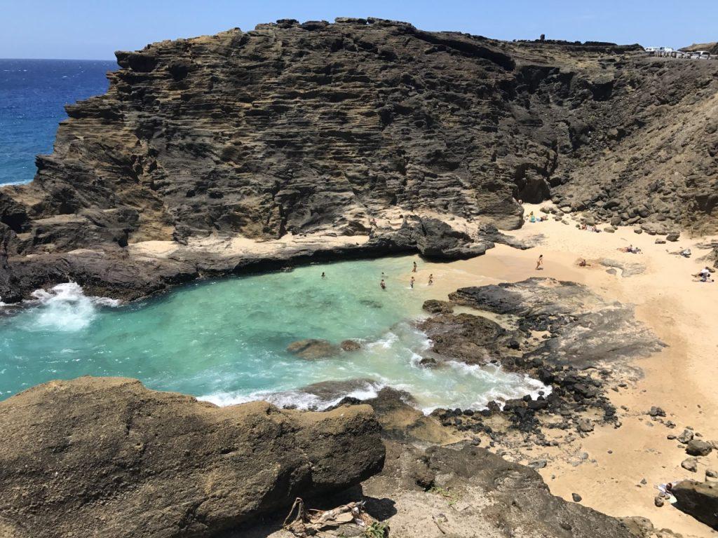 hawaii halona blowhole eternity beach from above